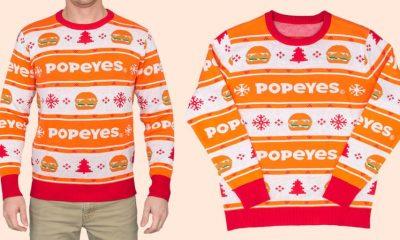Popeyes lanza su primer suéter navideño con sándwichs de pollo
